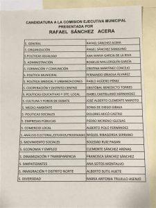 Lista de la nueva Comisión Ejecutiva Local
